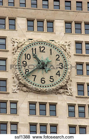 Pictures of Closeup of clock face on old Met Life building.
