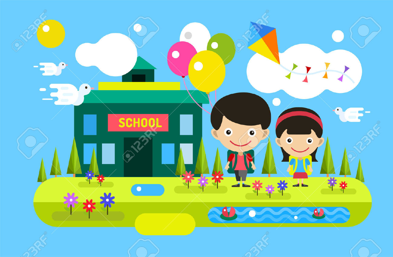 Back To School Background. Cute Vector Cartoon Boy And Girl.
