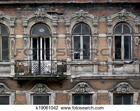Stock Photo of ruined building face k19061042.