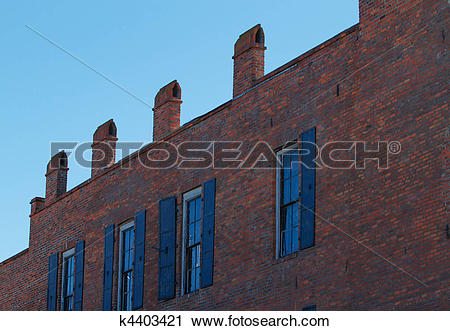 Stock Photography of 1800s brick building face k4403421.