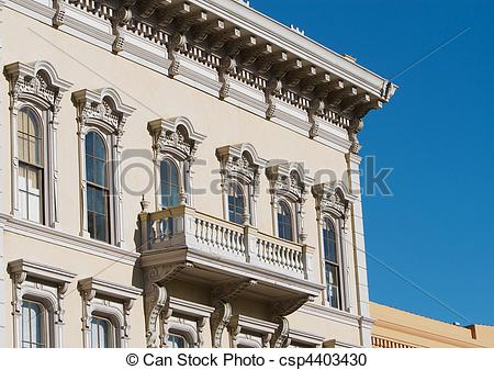 Stock Photography of 1800s building face.