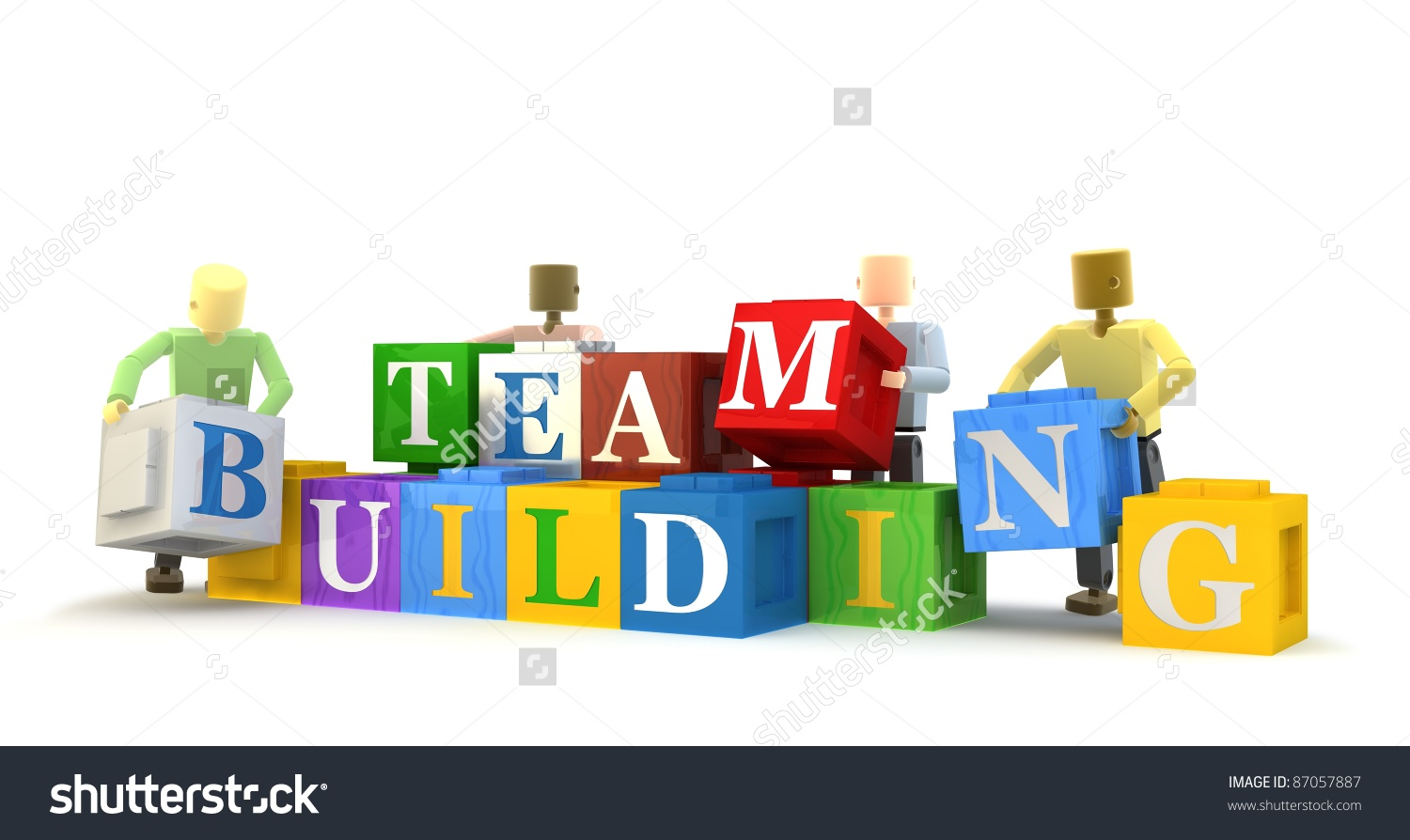3d Figures Engaging Team Building Exercise Stock Illustration.