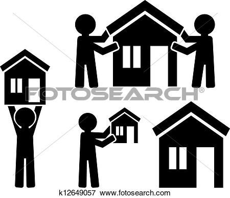 Clip Art of Icons building of house with figures of people.