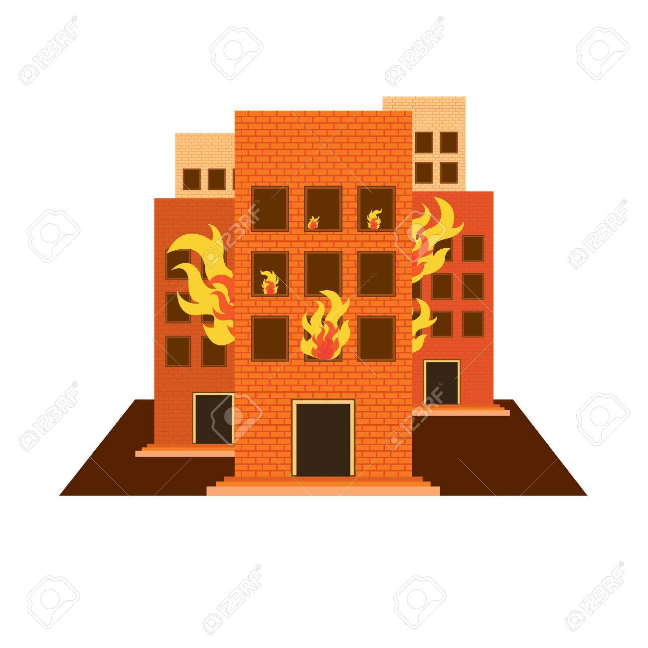 vectors set building fire colour and white on white back ground.