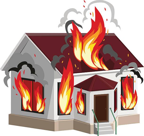Best Burning Building Illustrations, Royalty.