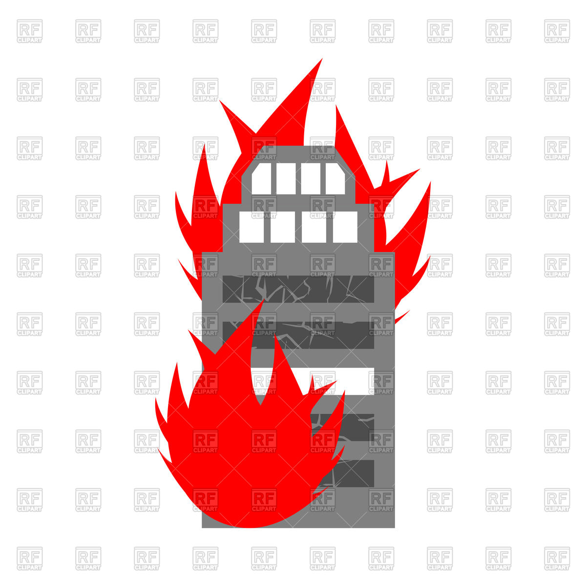 Fire in building icon Stock Vector Image.