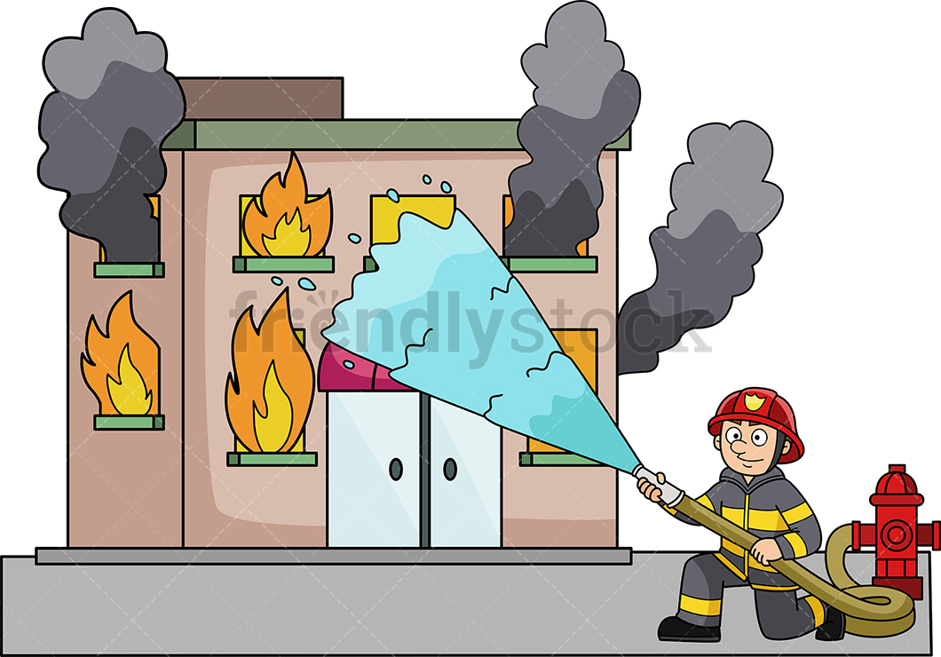 Firefighter Throwing Water At A Building On Fire.