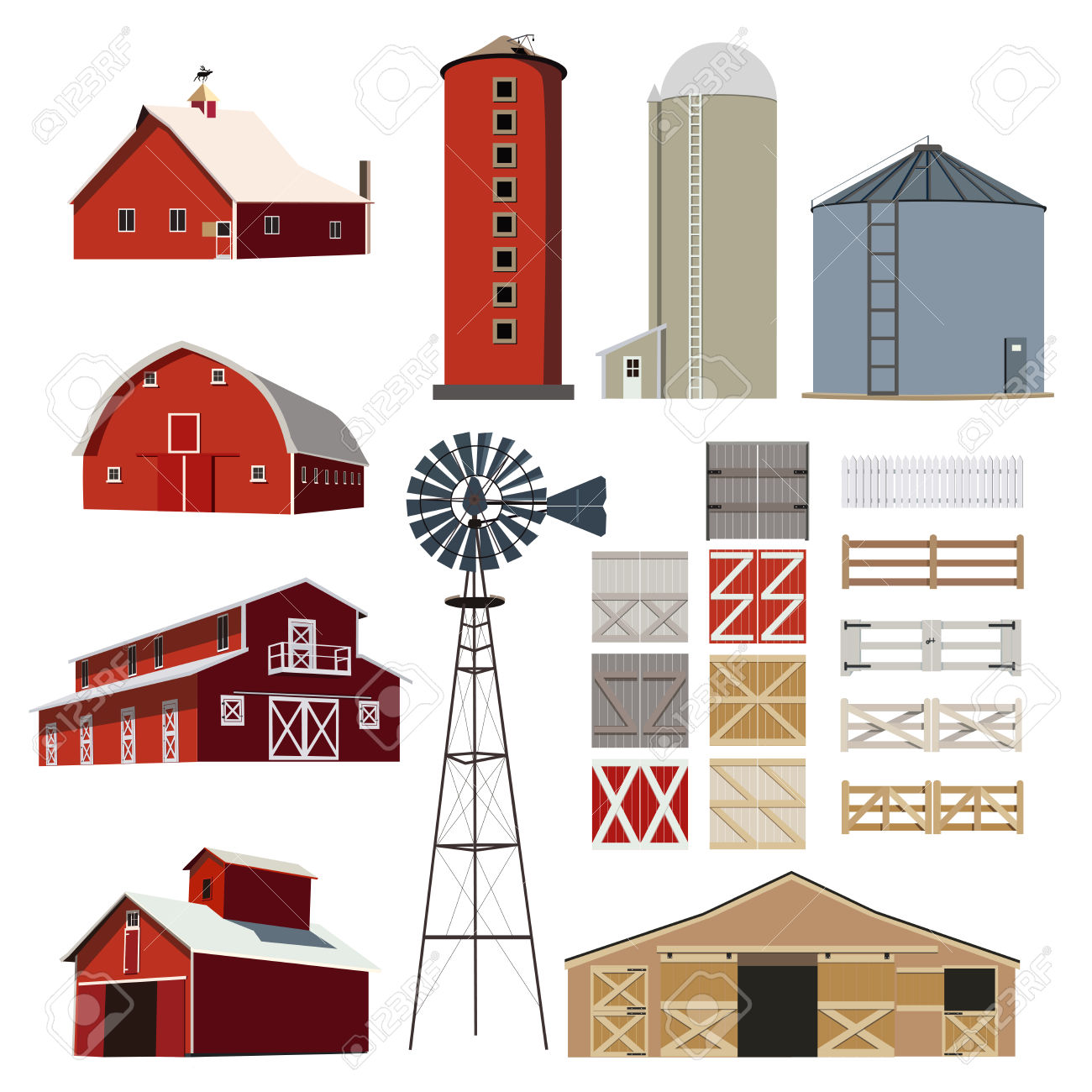 Farm House Building Livestock Vector Royalty Free Cliparts.
