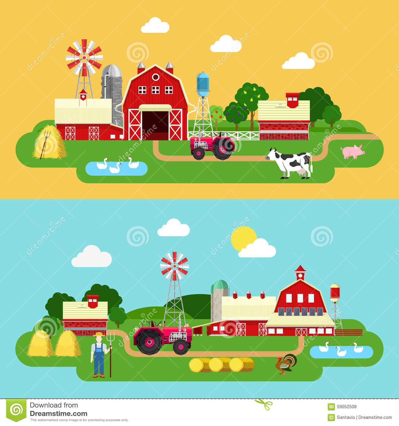 Flat Vector Farming Agriculture Banner: Farm Building, Livestock.