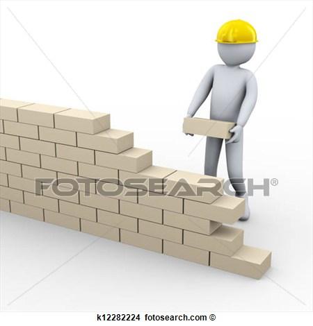 3d man building brick wall.