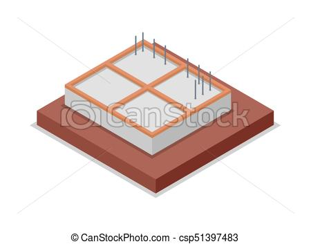 House foundation pouring isometric 3D icon.
