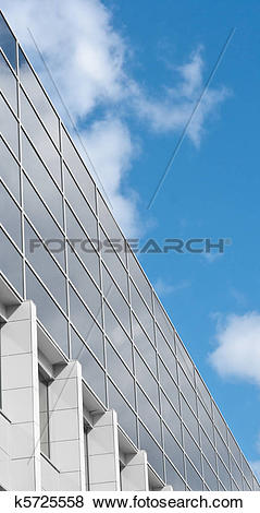 Stock Illustration of Modern building glass wall with reflection.