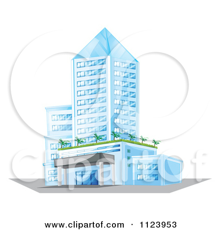 Cartoon Of A Glass Hotel Or Apartment Building.