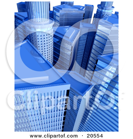 Clipart Illustration of Tall Blue Glass Mirror Skyscraper.