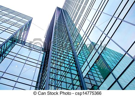 Stock Image of modern building made of glass and steel with.