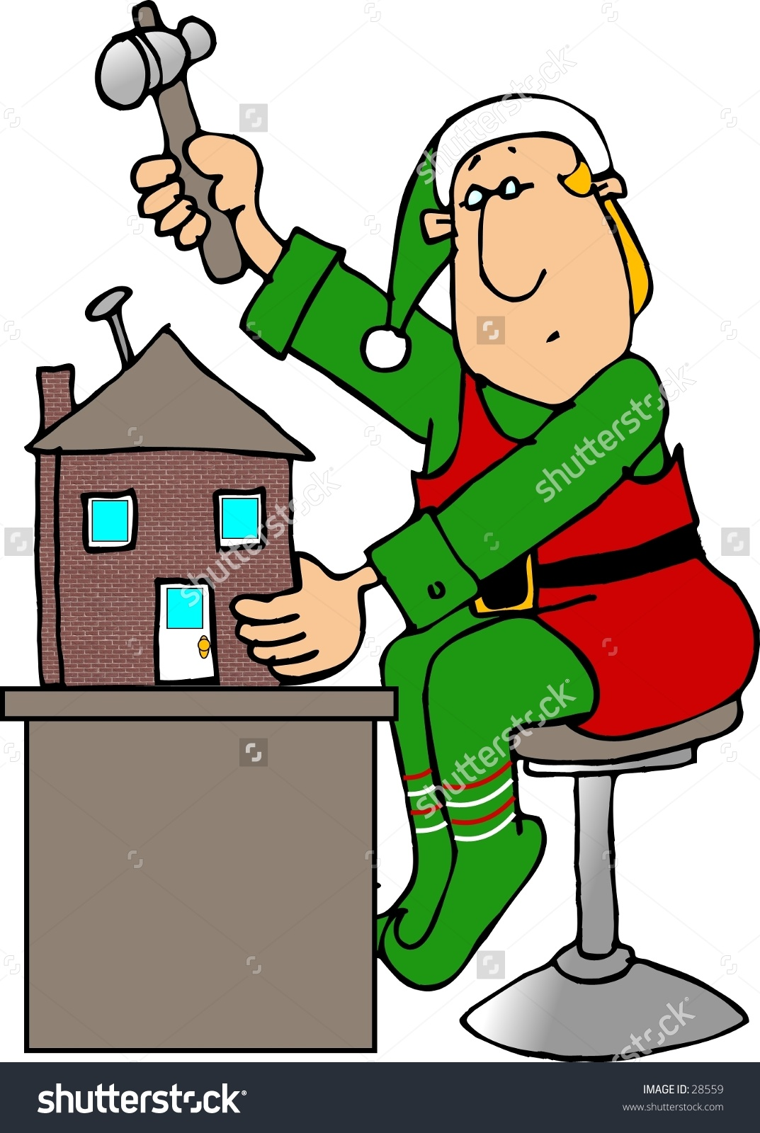 Clipart Illustration Christmas Elf Building Toy Stock Illustration.