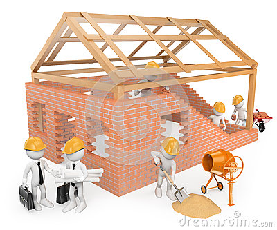 3D White People. Construction Workers Building A House Stock.
