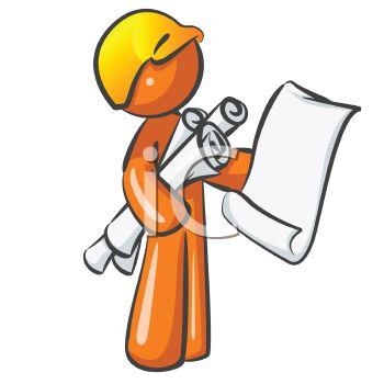 Orange Man Character Mascot Building Inspector.