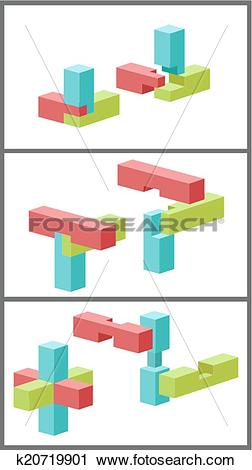 Clipart of Connection of details a toy building kit. k20719901.