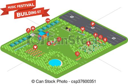 Clipart Vector of Music Festival Building Kit 2.