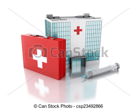 Stock Illustration of 3d renderer. Hospital building, syringe and.