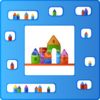 Childish Pattern With Colorful Building Kit stock photos.