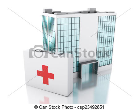 Stock Illustrations of 3d renderer. Hospital building and first.