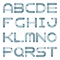 Vector Flat Alphabet IN Building Kit stock vectors.