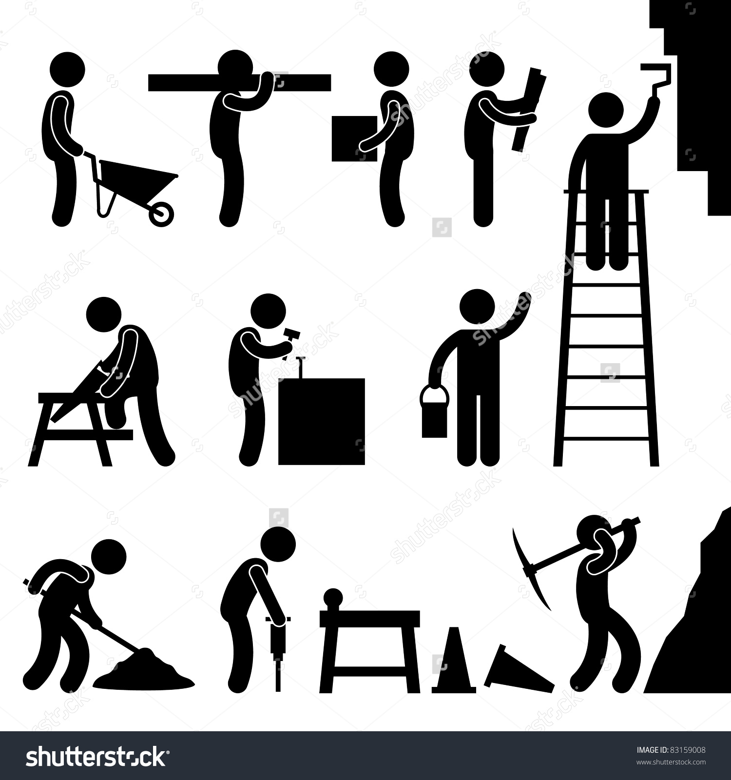 Man People Working Construction Carrying Building Stock Vector.