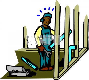 Royalty Free Building Laborer Clip art, Buildings Clipart.