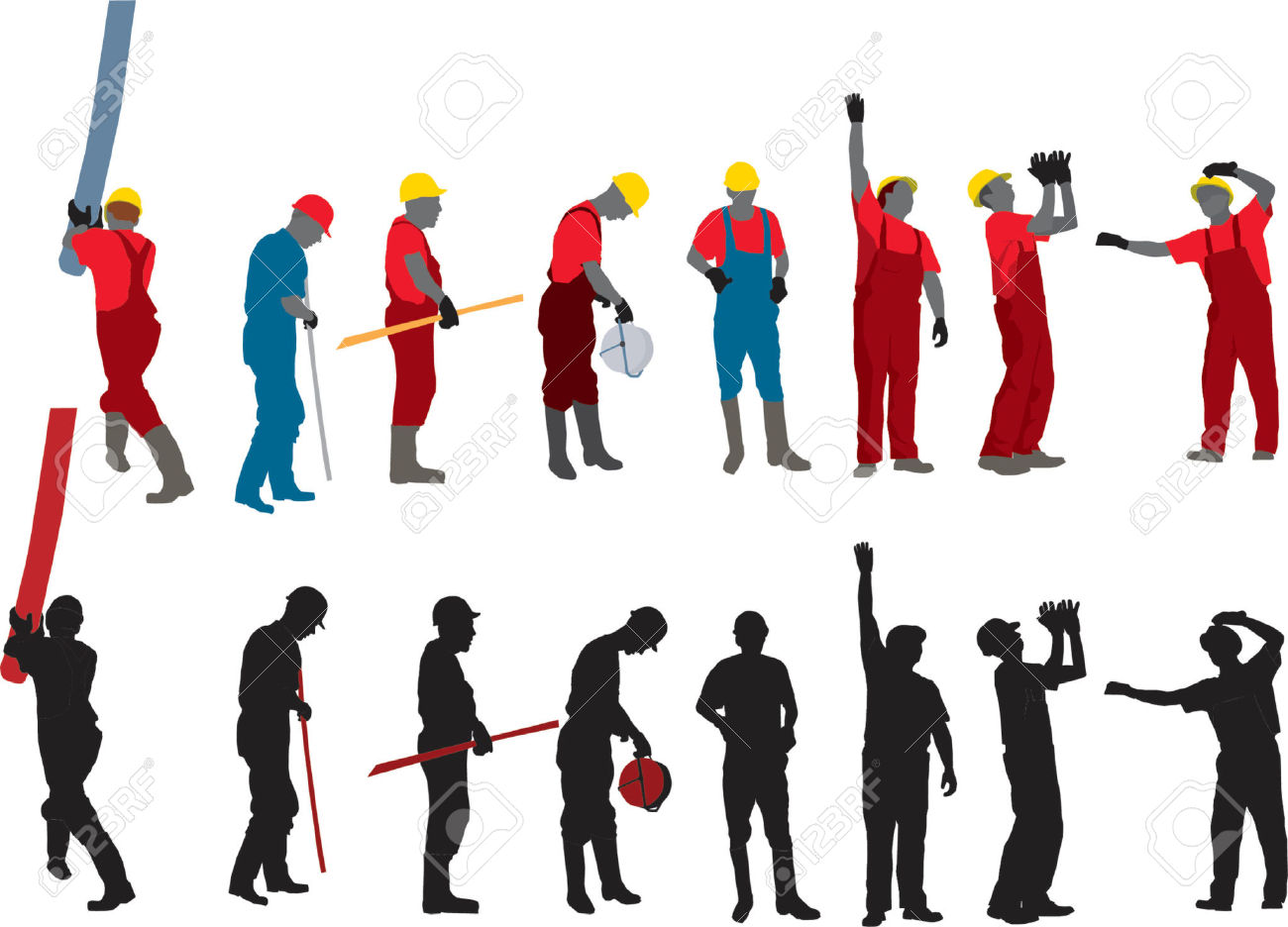 Team Of Construction Workers Vector Silhouette Royalty Free.