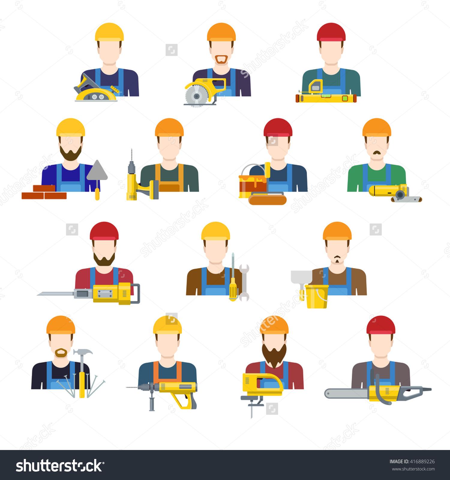 Building Industry Builders Profession Worker Staff Stock Vector.