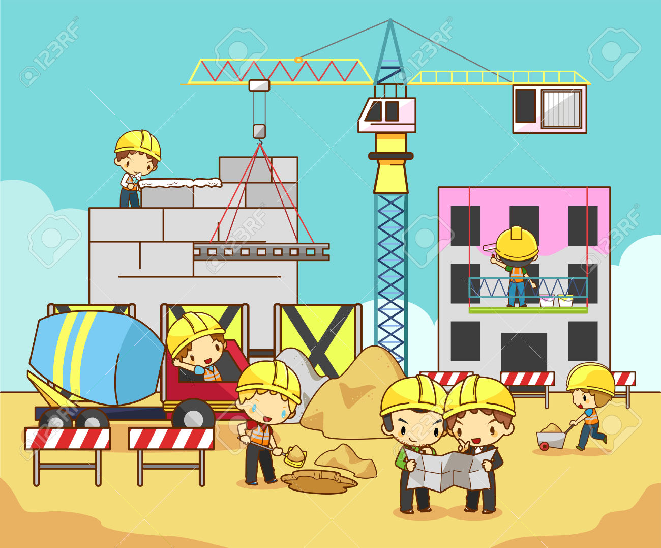 Cartoon Children Engineer Technician And Labor Worker Working.
