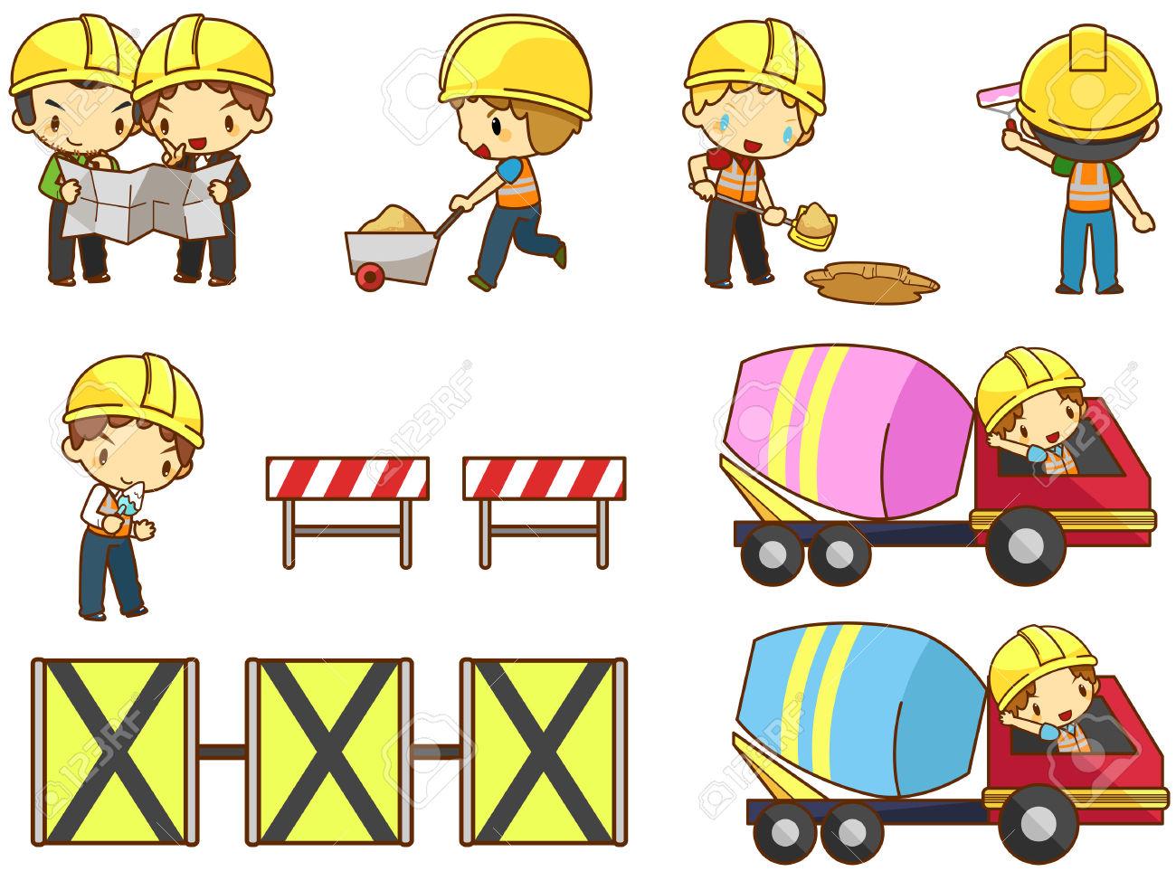 Cartoon Children Engineer, Technician, And Labor Worker Working.