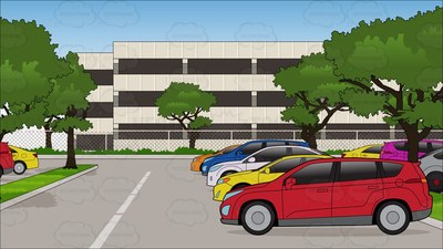 parking lot Cartoon Clipart.