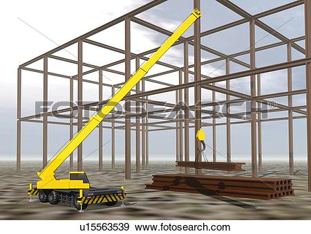 Stock Illustration of Image of a Yellow Crane on a Building Lot.