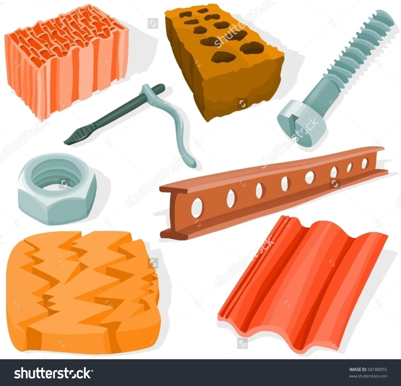 Set Building Tools Materials Stock Vector 58188055.