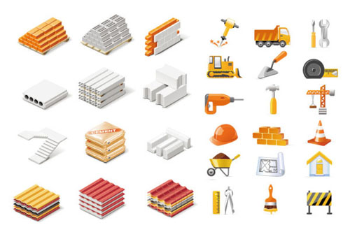Building materials clipart.