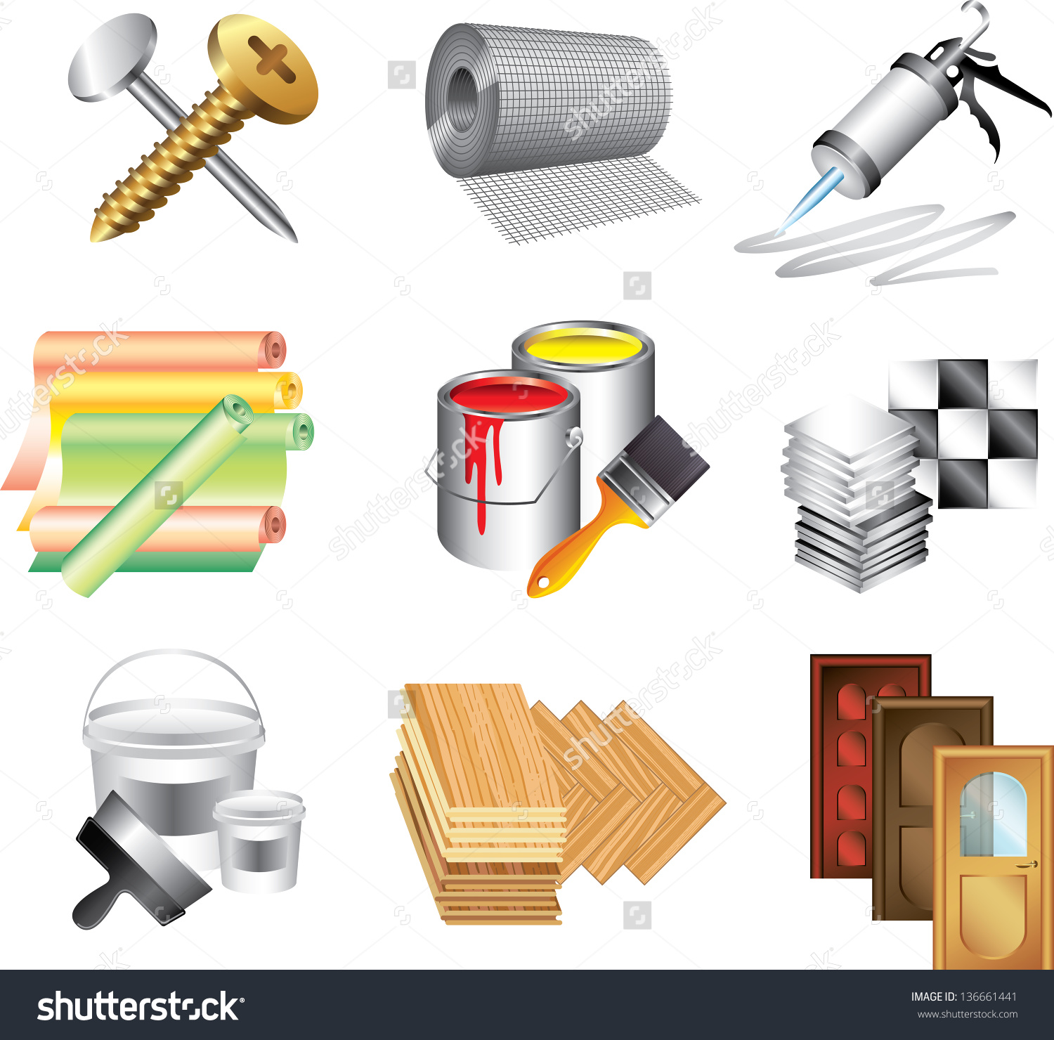 Building Materials Icons Detailed Vector Set Stock Vector.