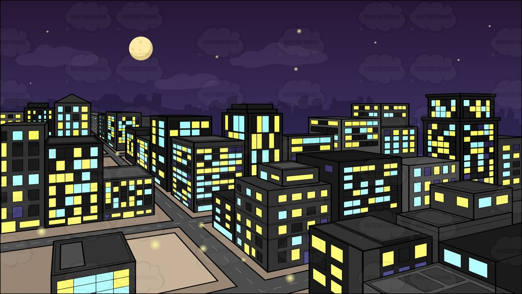 Building at night clipart.