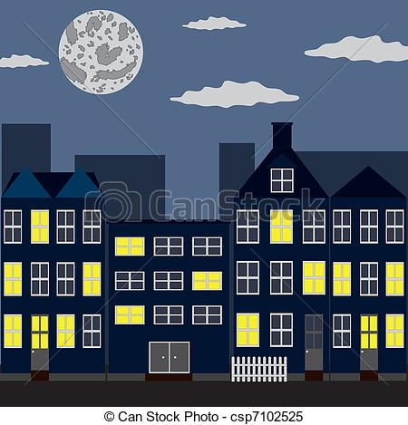 Clipart Vector of Night city.