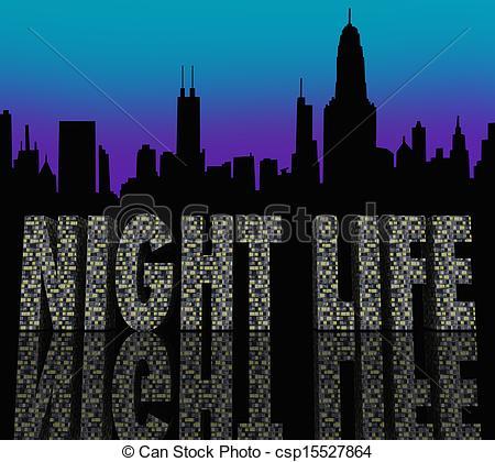 Stock Illustration of Night Life Words Building City Skyline.