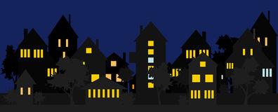 Aluminum Facade Residential Building Night Stock Illustrations.