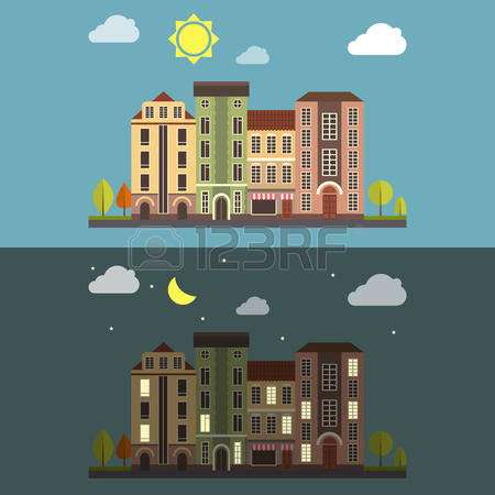 15,840 Building Night Stock Vector Illustration And Royalty Free.