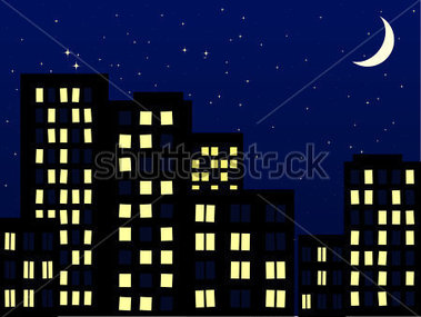 Night building clipart.
