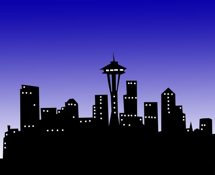 Seattle skyline at night clipart.