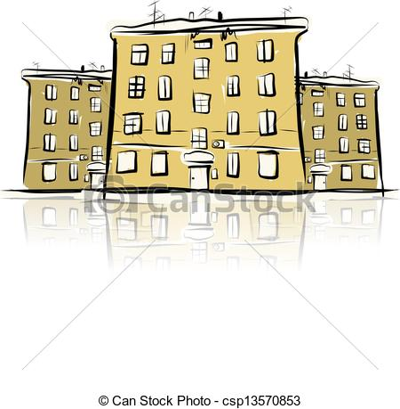 Clipart Vector of Sketch of street with old buildings for your.