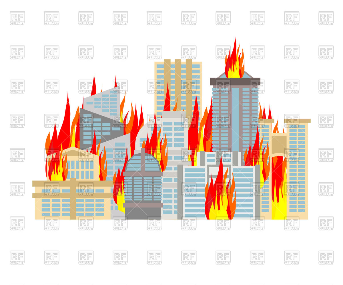 City on fire Stock Vector Image.