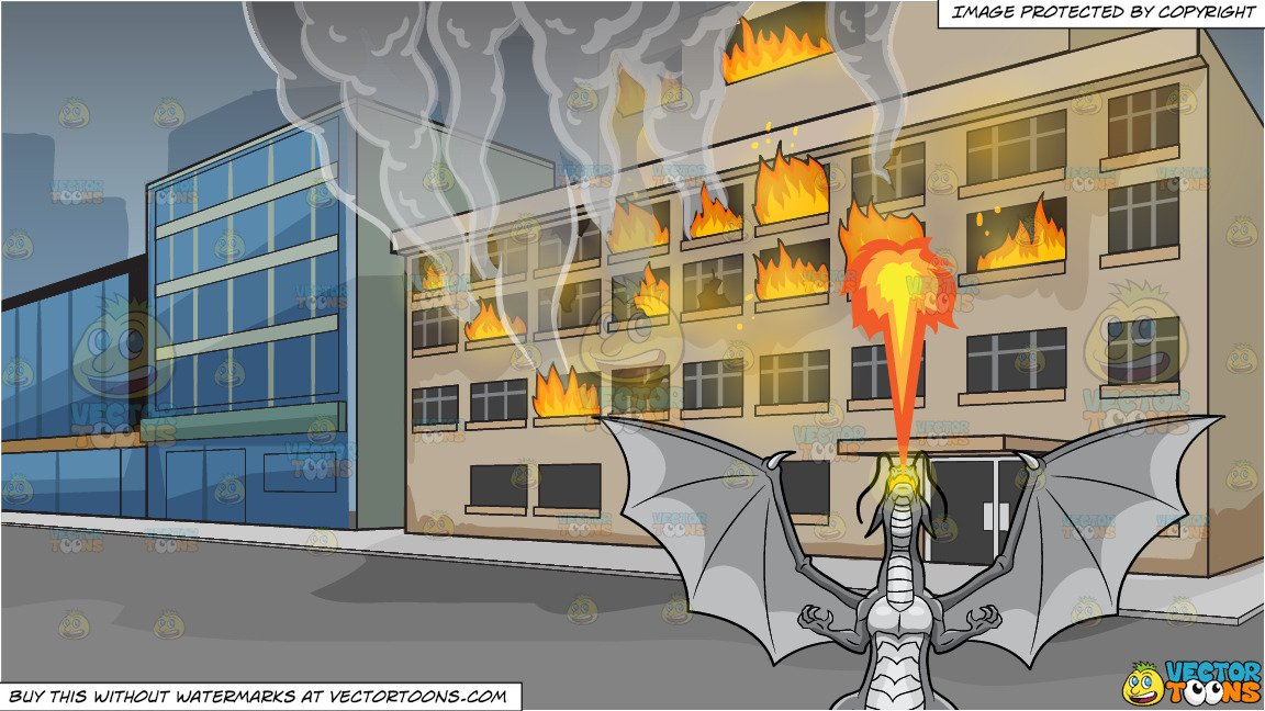 A Dragon Spitting Out Fire and A Building On Fire Background.