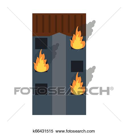 Building tower in fire Clipart.